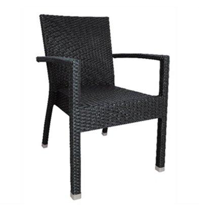 Bolero Kunststoff Rattan Stuhl schwarz / anthrazit - 4 Stück