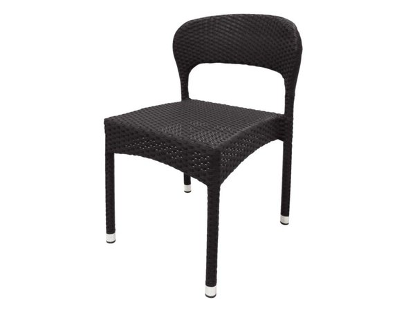 Bolero Kunststof rieten stoel, grijs - 4 stuks