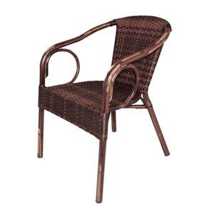 Bolero Kunststof rieten stoel met armleuning - bruin - 4 stuks