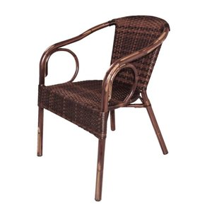 Bolero Synthetic wicker chair with armrests - brown - 4 pieces