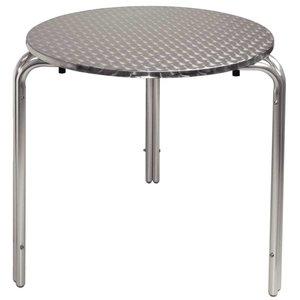 Bolero Bistro table Round Aluminium Frame - Stainless steel Worktop - 72 (H) x70 (Ø) cm