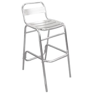 Bolero Bistro Bar Stool Aluminium with backrest - Price per 4 pieces