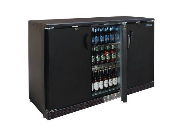 Polar Barkoeling Schwarz mit 3 blinde Pendeltüren - 273 Bottles - 335 Liter - 1.352 (b) x535 (d) X925 (H) mm