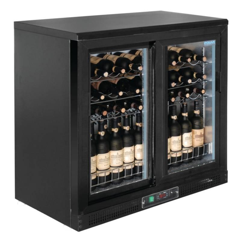 polar wine fridge drinks chiller with two sliding doors 56 bottles 920x530 5x h 920mm. Black Bedroom Furniture Sets. Home Design Ideas