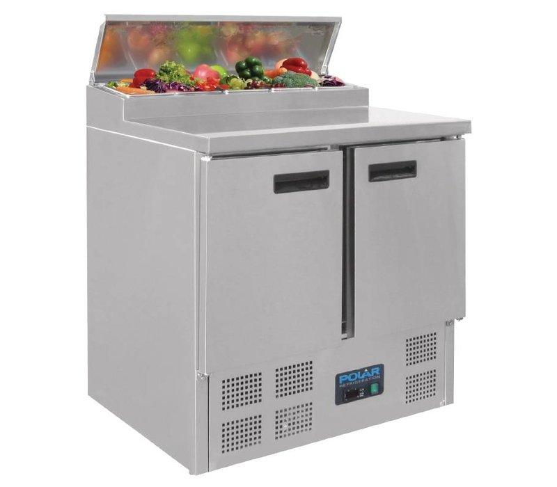 Polar Pizza Workbench - SS - 2 Türen - 90x70x (h) 101cm - mit 5-fach 1/6 GN