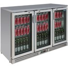 Polar Stainless steel bar fridge + 3 Folding Doors - 273 Bottles - 335 liters - 1350x530 (H) 920mm