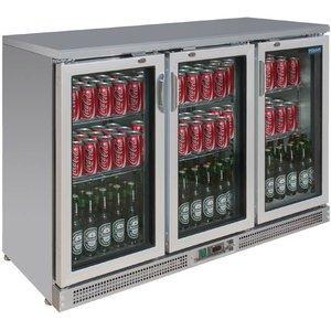 Polar Barkoelkast RVS + 3 Klapdeuren - 273 Flessen - 335 liter - 1350x530(H)920mm