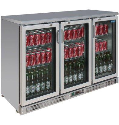 Polar Edelstahl-bar Kühlschrank + 3 Falttore - 273 Bottles - 335 Liter - 1350x530 (H) 920mm