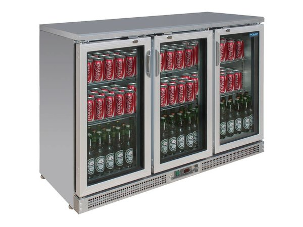 Polar Edelstahl-bar Kühlschrank + 3 Falttore - 273 Flaschen - 335 Liter - 1350x530 (H) 920mm