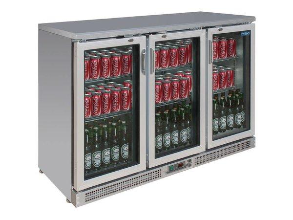 Polar Stainless steel bar fridge + 3 Folding Doors - 273 Bottles - 335 liters - 1350x530 (H) 920mm