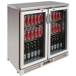 Polar Barkoeling Edelstahl-Pendeltür mit Doppel - 182 Bottles 330ml - 245 Liter - 900x520x (H) 920mm