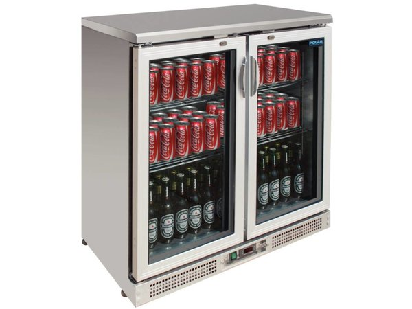 Polar Barkoeling stainless steel with double lift system - 182 330ml bottles - 245 liters - 900x520x (H) 920mm
