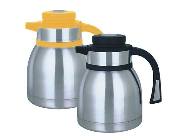XXLselect Thermos - Stainless steel - button closure - 1 liter - yellow