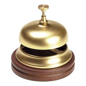 XXLselect Reception bell Brass   With Wooden Foot   Ø11cm