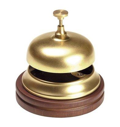 XXLselect Reception bell Brass | With Wooden Foot | Ø11cm