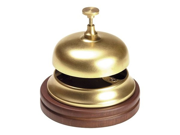 XXLselect Reception bell Brass | With Wooden Foot | Ø11cm