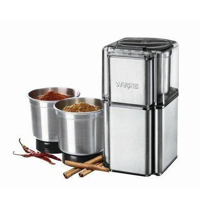 Waring Commercial Waring Gewürzmühle - 340ml kann - Klinge aus rostfreiem Edelstahl - Inklusive 3x Edelstahl Mahlbecher mit Deckel