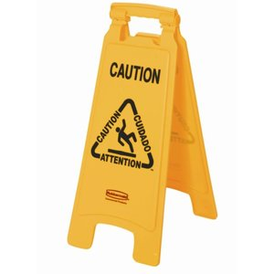 "XXLselect Rubbermaid A-frame multilingual warning sign ""Wet Floor 'image"