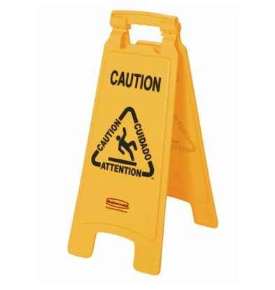 "Rubbermaid Rubbermaid A-frame multilingual warning sign ""Wet Floor 'image"
