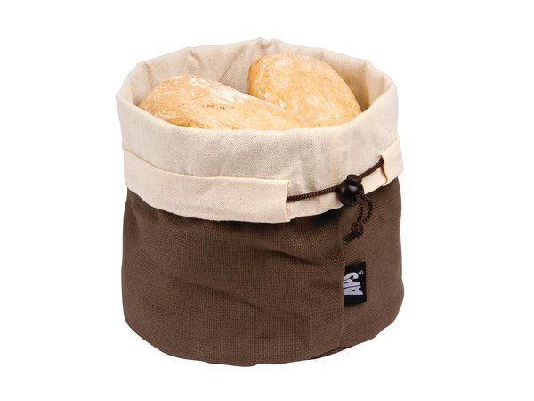 XXLselect Cotton Bread Basket - Beige / Braun - Ø200x (h) 235mm