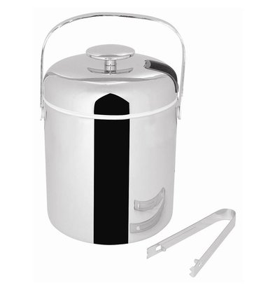 XXLselect Ice bucket with Tang | Stainless steel | 1.25 Liter | 15 (H) xØ14cm