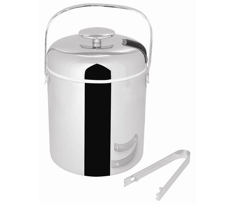 XXLselect Ice bucket with Tang   Stainless steel   1.25 Liter   15 (H) xØ14cm