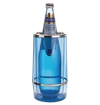 APS Wine Cooler Ice Blue - Round with Chrome Rim - Ø10cm x 23 (h) cm - GIFT BOX
