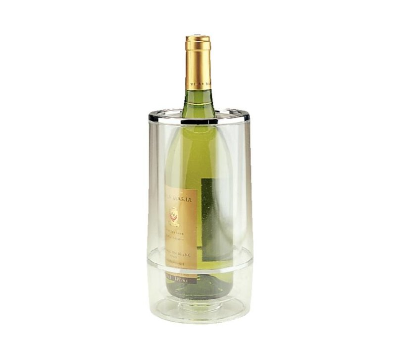 XXLselect Flaschenkühler Doppelwandiger -Transparente Acrylic + Chrom Rim - Ø 12 cm x 23 (H) cm