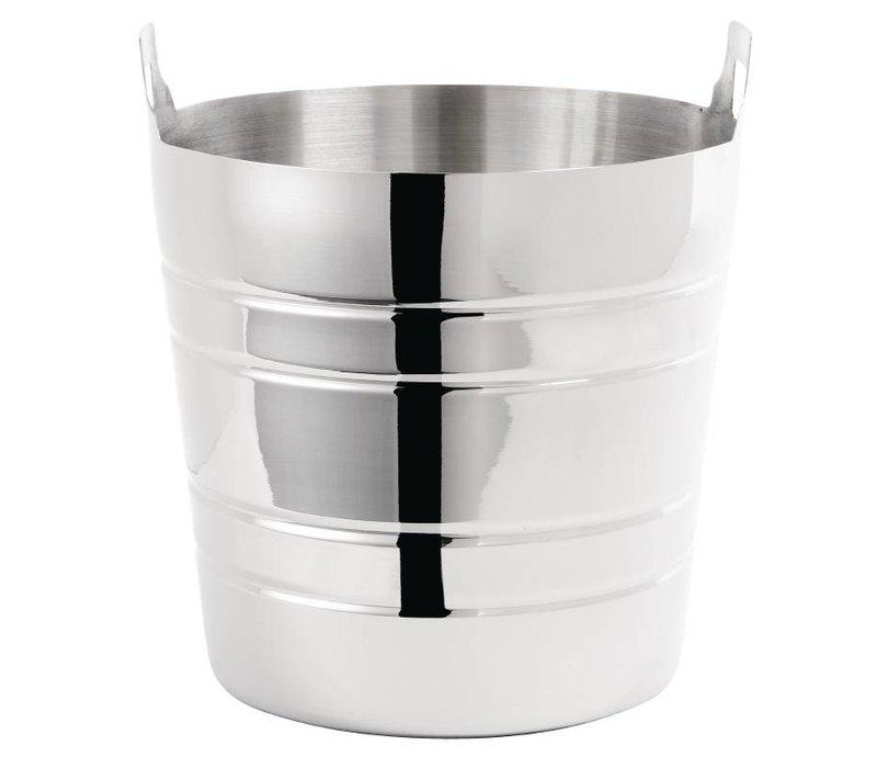 XXLselect Weinkühler aus Edelstahl - mit Griffen - Ø20cm x 19 (H) cm