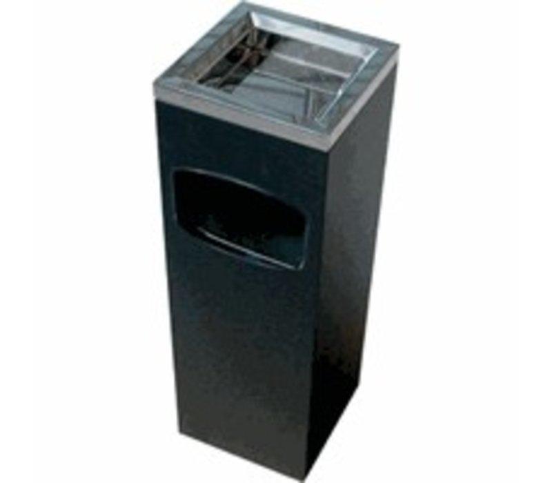 XXLselect Abfallsammler / Papierbar mit Aschenbecher - Schwarz - 200x200x (H) 600 mm.