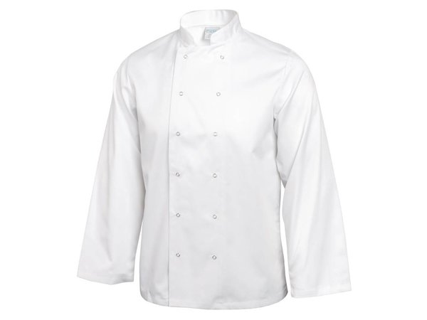 XXLselect Cooks Tube Vegas with press studs - Long Sleeves - Available in 6 sizes - Unisex - White