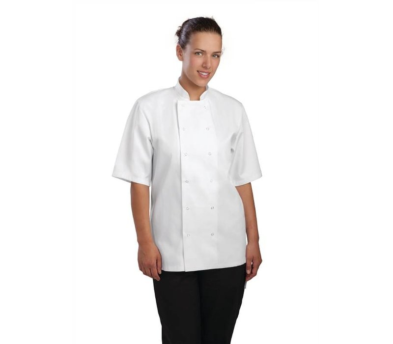 XXLselect Cooks Tube Vegas with press studs - Short Sleeves - Available in 6 sizes - Unisex - White