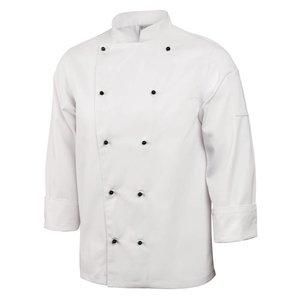 XXLselect Cooks Schlauch Classic mit Bolknopen - Lange Ärmel - Erhältlich in 6 Größen - Weiß - MOST VERKAUFT!