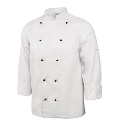 XXLselect Cooks Tube Classic with Bolknopen - Long Sleeves - Available in 6 sizes - White - MOST SOLD!