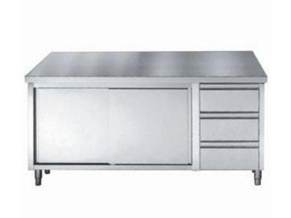 Combisteel Werktafel RVS + Schuifdeuren + 3 Laden 1/1 GN | 1600(b)x700(d)mm | KEUZE UIT 3 BREEDTES