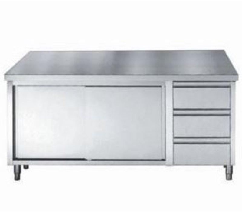 Combisteel Edelstahl-Arbeitstisch + Türen + 3 Schubladen GN 1/1 | 1600 (b) x700 (d) mm | Wahl von 3 WIDTHS