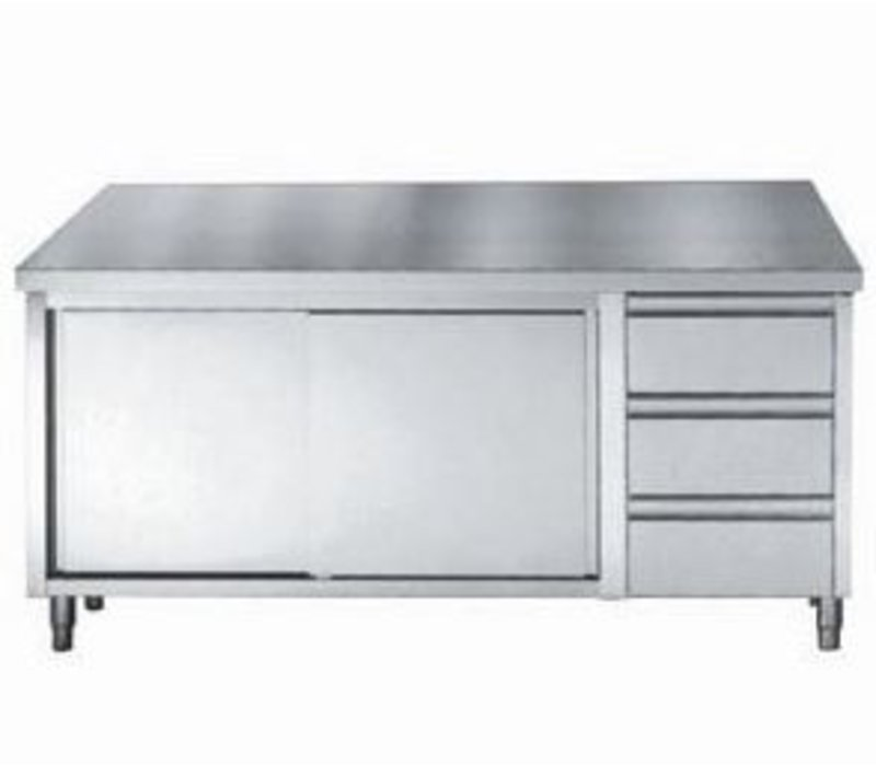 Combisteel Stainless steel worktable + Doors + 3 Drawers GN 1/1 | 1600 (b) x700 (d) mm | CHOICE OF 3 WIDTHS