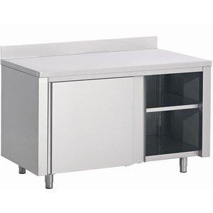 XXLselect Stainless steel worktable + Sliding + Splash-Rand | 1200 (b) x600 (d) mm | CHOICE OF 3 WIDTHS