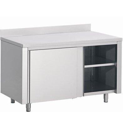 Combisteel Stainless steel worktable + Sliding + Splash-Rand | 1200 (b) x600 (d) mm | CHOICE OF 3 WIDTHS