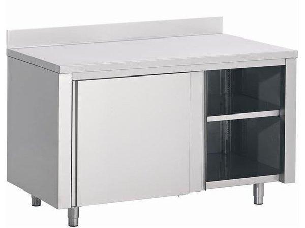 Combisteel Werktafel RVS + Schuifdeuren + Spatrand | 1200(b)x600(d)mm  | KEUZE UIT 3 BREEDTES