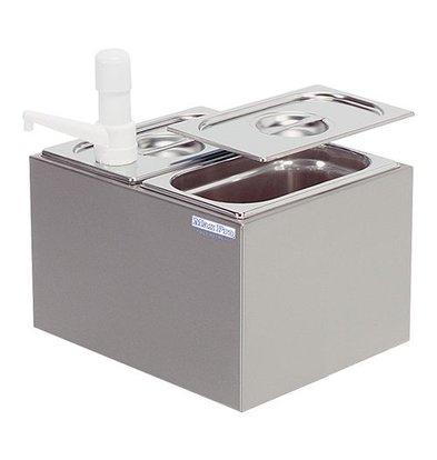 XXLselect Max Pro Sauce Dispenser - Stainless Steel - 2x - 1/4 GN