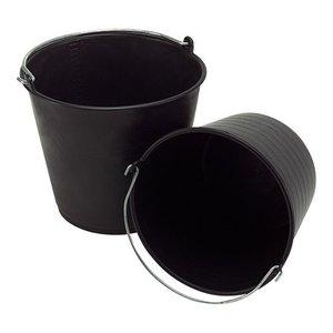 XXLselect Emmer Zwart Kunsstof 12 Liter - Maatverdeling