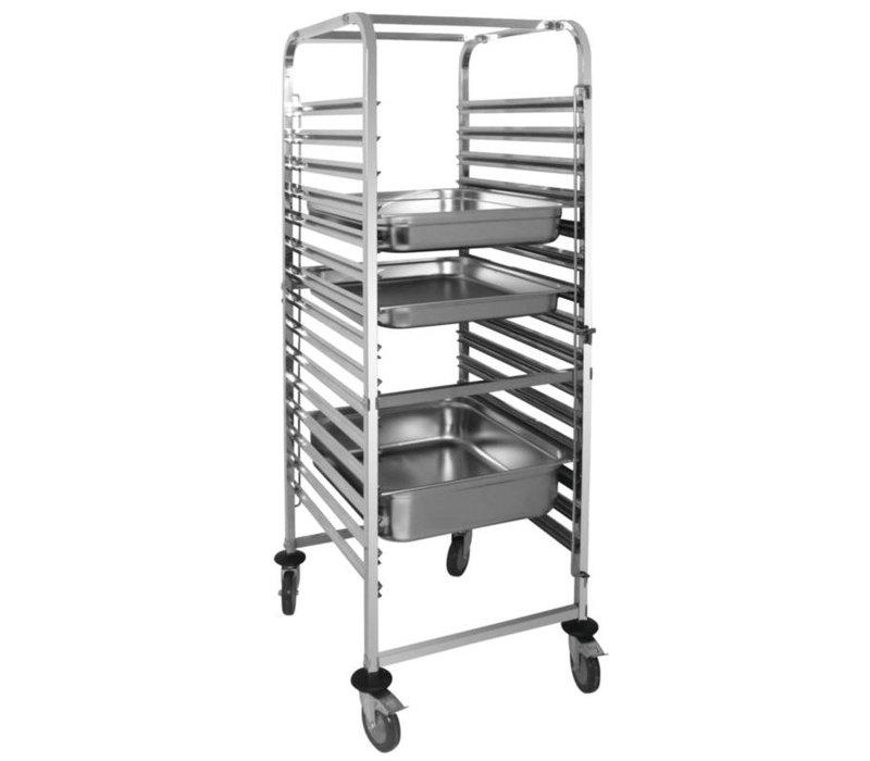 XXLselect Regaalwagen stainless steel for 15 x 2 / 1GN