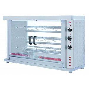 XXLselect Kippengril Electrisch - 3 Spitten - 1320x460x(h)855mm - 7.8KW - 15 Kippen