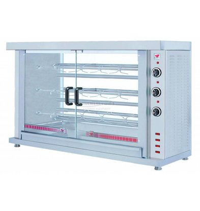 XXLselect Chicken Grill Electric - 3 Spits - 1320x460x (H) 855mm - 7.8KW - 15 chickens