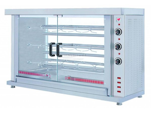 Combisteel Chicken Grill Electric - 3 Spits - 1320x460x (H) 855mm - 7.8KW - 15 chickens