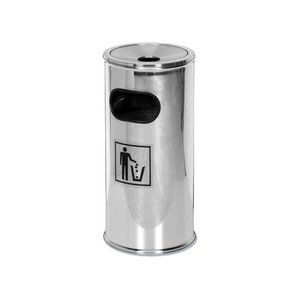 Saro Paper bin stainless steel - With removable ashtray - 62 cm high