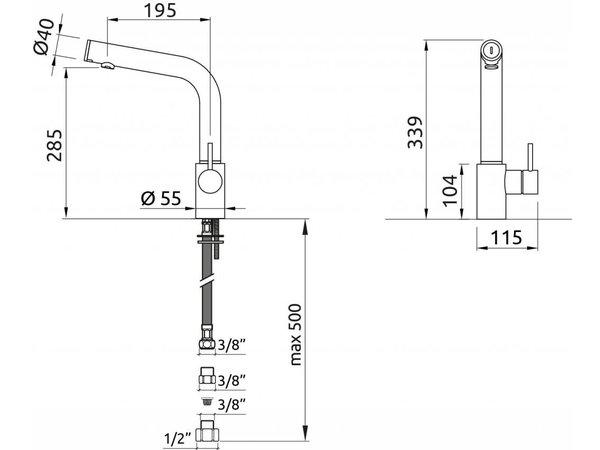 XXLselect Infrarot Crane Oceanus Plus - All in One - Chrom - 18Liter / Minute - (H) 339mm
