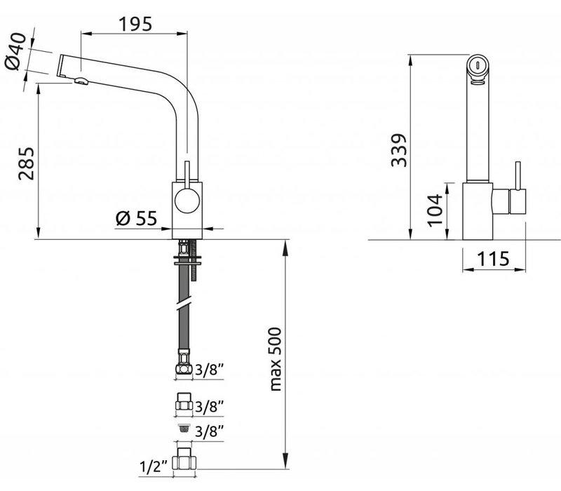 XXLselect Infraroodkraan Oceanus Plus - All in One - Verchroomd - 18Liter/Minuut - (H)339mm