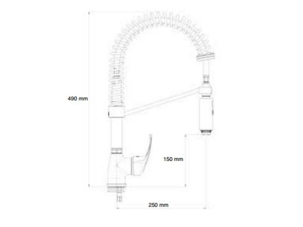 XXLselect Handdouche MINI - verchroomd - Flexibele aansluitingen - Koude/Warme Kraan - (H)490 mm
